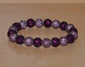 10mm Purple and Lavender Pave Crystal Ball Bead Stretch Bracelet - 1020B