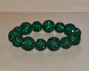 Emerald Green 12mm and 14mm Pave Crystal Disco Ball Bead Stretch Bracelet