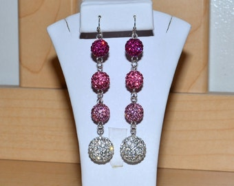 10mm and 14mm Fuchsia/Hot Pink, Pink, Light Pink, and White Pave Crystal Disco Ball Earrings