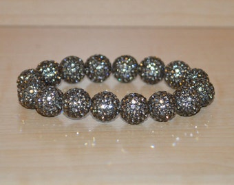 12mm Gray Grey Pave Crystal Disco Ball Bead Stretch Bracelet  - 1216B