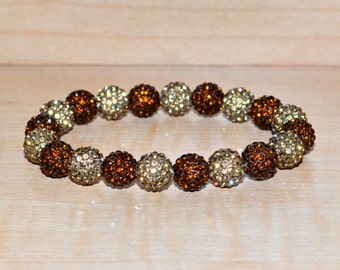 10mm Light Brown/Light Colorado/Golden Brown and Darker Brown/Smoked Topaz Pave Crystal Disco Ball Bead Stretch Bracelet - 1020B