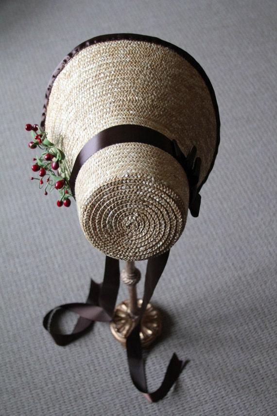 Cozy Wintry Berry Decorated Straw Regency Poke Bonnet
