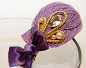 Zilly's - (D) - Handmade Fabric Hair Clip with Rhinestone, Pearls, Golden strings, Ribbon Bow, and Chiffon Flowers - light lavender/purple