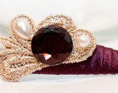 Zilly's - (AF) - Handmade Fabric Hair Clip with Rhinestones, Pearls, Ribbon, and Gold Lace - maroon