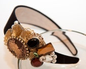 Zilly's - (R) - Handmade Fabric Headband with Rhinestones, Sequins, Pearls, Lace, Beads, and Victorian Jewls - dark blue/gold
