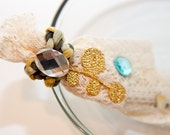 Zilly's - (X) - Handmade Fabric Hair Clip with Rhinestone, Gold Leafs, Lace Fabric - light beige/green/gold