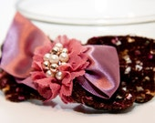 Zilly's - (AE) - Handmade Fabric Hair Clip with Pearls, Lace and Ribbon Bow - pink/lavender/brown