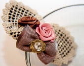 Zilly's - (H) - Handmade Fabric Hair Clip with Rhinestones, Felt Bow and Ribbon Flowers- dark beige/pink/light brown