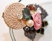 Zilly's - (AH) - Handmade Fabric Hair Clip with Rhinestones, Pearls, Stitched Leafs and Ribbon Flowers - shimming gold/pink/dark grey