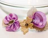 Zilly's - (I) - Handmade Fabric Hair Clip with Rhinestone, Stitched Leaf and Flowers, and Ribbons- purple/gold/cream