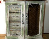 Wood Jewelry Box Distressed Upcycled Cottage Chic