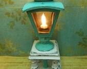 Vintage Table Lamp Upcycled Turquoise Shabby White