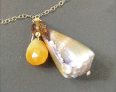 Hawaiian Shell Necklace, Cone, Opal, 14k gold filled
