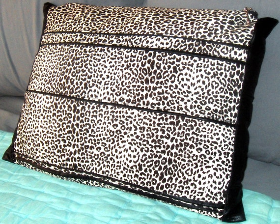 Decorative Pillow zippered Upcycled Leopard Print Eco-Friendly Unique Gift