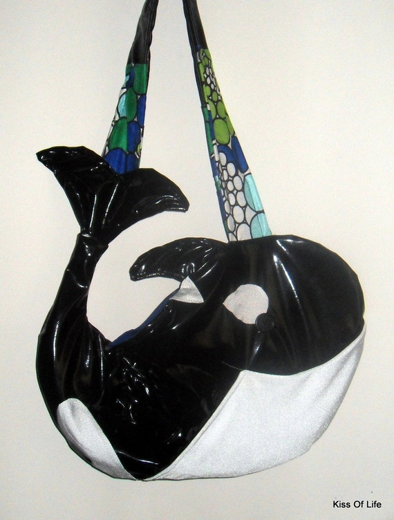 Whale Bag Beach Tote Cute Orca Messenger Purse Upcycled Handmade Unique OOAK