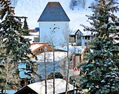 Scenic Colorado Vail Village Clocktower in Winter 11x14 Limited Edition Print