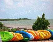 Colorful Florida Keys kayak boats sand ocean 11x14 Limited Edition Print