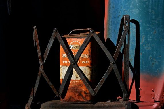 Fine Art Automotive Photography Red Blue Black,  Gas Can - 8x12
