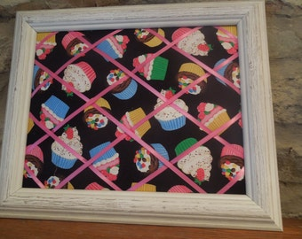 Framed memo board - 11x14 Cupcakes with driftwood white frame