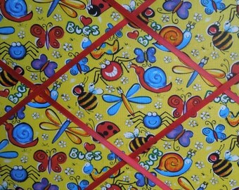 fabric covered french memo board - 16x20 Happy Bugs - Unframed