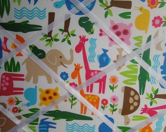 Framed fabric memo board - 16x20 Bright Animals
