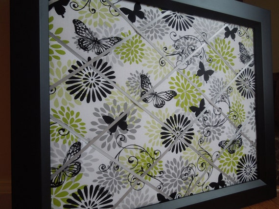 Framed fabric memo board - 16x20 butterflies with black and lime flowers