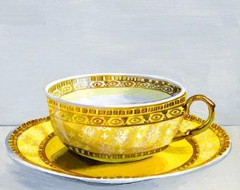 "Teacup yellow. Limited edition giclée print 17/100, 12.7 x 17.7 cm (5 x 7"")"