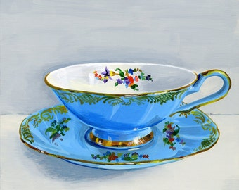 "Teacup pale blue. Limited edition giclée print 8/100, 15.2 x 15.2 cm (6"" x 6"")"