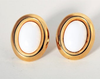 Vintage Monet Gold and White Toned Clip-on Earrings
