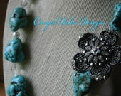 Chunky Cowgirl Western Turquoise Necklace, Pearls and Off-set Ornate Bling Flower Pendant