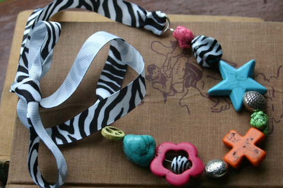 Funky, Chunky Western Cowgirl Flare Zebra Ribbon Necklace