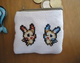 Plusle and Minun cross stitched purse