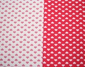 Cute heart fabric-  fat quarter hearts in red and white or pink and white