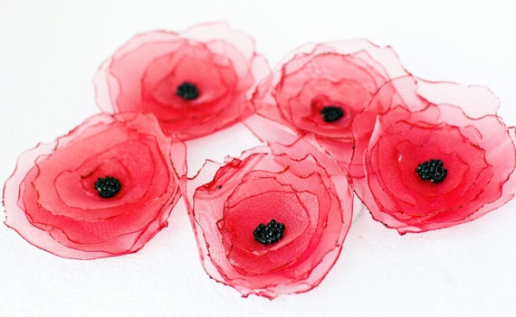 Red Fabric Poppy Flower Handmade - Shimmer Organza Embellishment Applique (Set of 5)