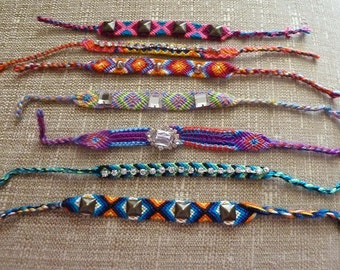 Colorful MACRAME friendship bracelets with rhinestones and spikes