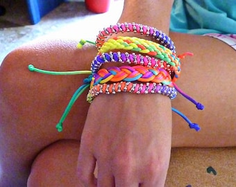Neon colorful bracelet, floss bracelet, tribal bracelet, avant garde, friendship bracelet, gift for her, christmas gift, beachwear, maximal
