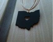 I Heart Ohio, My Heart Belongs in Ohio Pendant, Ohio Necklace