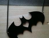 I heart Batman, Batman-Inspired Pendant, Black Acrylic