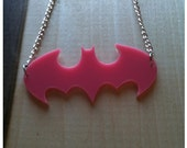 Bubble Gum Pink Bat, Batman Logo Pendant, Pink Bat