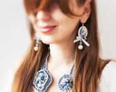Shabby Chic Cameo Earrings, indigo and blue denim, lace, pearl, bohemian glass