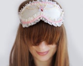 Sleep Mask Italian Ivory Silk Romantic style and Valentine decor, 100% Hand Made Sleeping Eye Mask, Italian silk
