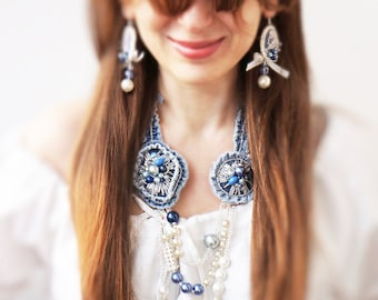 Luxury style Denim Flowers Necklace, Pearl, Bohemian Glass Crystal, Navi and Blue Denim, one of a kind, OOAK