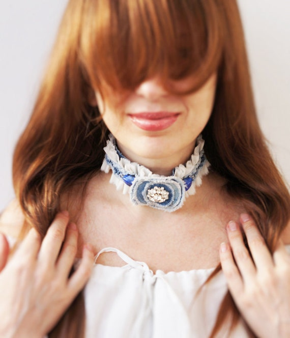 Shabby Chic Denim Flowers Necklace, Silk, Pearl, Bohemian Glass Crystal, Navi and Blue Denim, one of a kind, OOAK