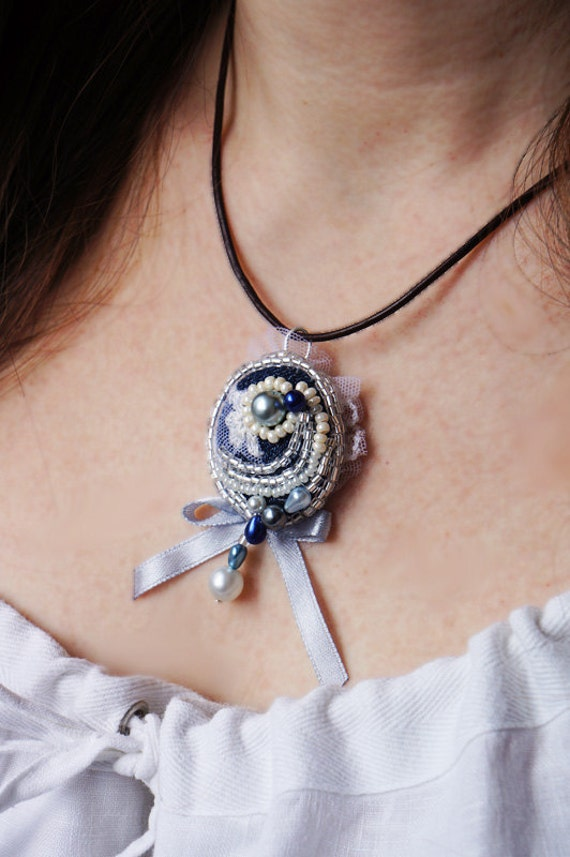 Beaded Necklace, Bow Necklace, Bow Pendant, Pendant Necklace, Lace, Pearl, Denim, Bow Bridal Jewelry, Bridesmaid Necklace, Bridesmaid Gift