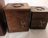 Flour, Tea, and Coffee Wooden Rooster Boxes (set of 3)