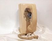 WORKING- Cream Rotary Wall Phone