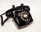 WORKING- Black Wall-Desk Rotary Phone- Reversible