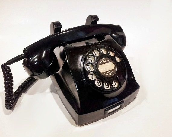 WORKING- Black Wall-Desk Rotary Phone- Reversible