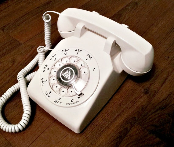 WORKING- Bright WHITE Rotary Phone