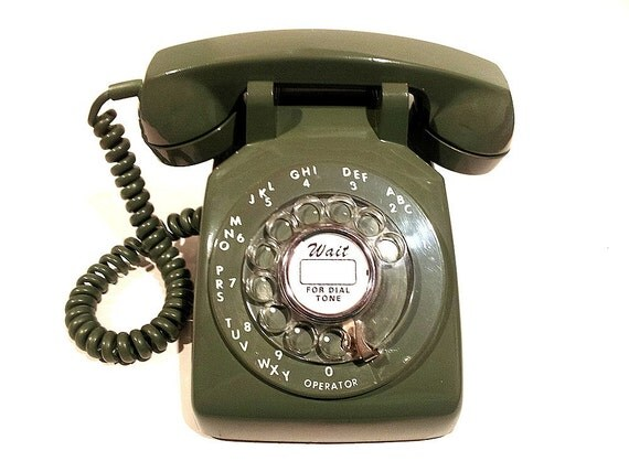 Green Rotary Phone Telephone- Display Only